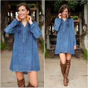 Denim blue embroidered Tunic Dress